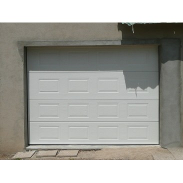 Porte de garage sectionnelle cassette blanche standard motoris e largeur 2400mm - Largeur porte garage ...