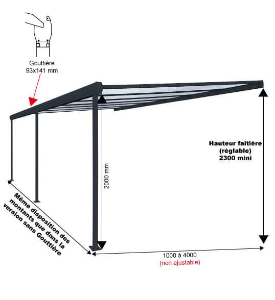 Pergola aluminium classique sur mesure toiture en for Plaque polycarbonate pour pergola