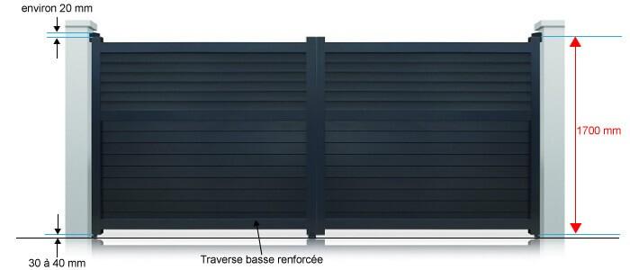 portail d troit battant standard hauteur 1800 mm blanc et gris motoriser. Black Bedroom Furniture Sets. Home Design Ideas