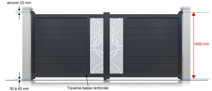 portail perso battant standard hauteur 1600 mm blanc et gris motoriser. Black Bedroom Furniture Sets. Home Design Ideas