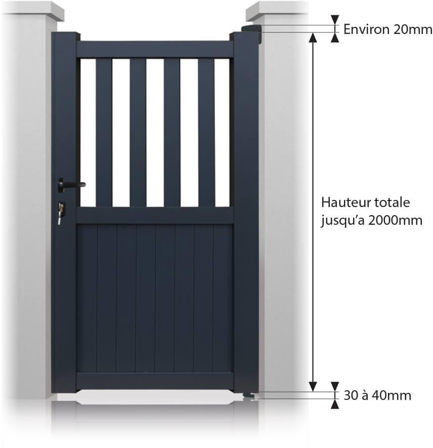 Portillon indiana aluminium sur mesure largeur entre pilier jusqu 39 1000 mm couleur blanc ral for Portillon sur mesure