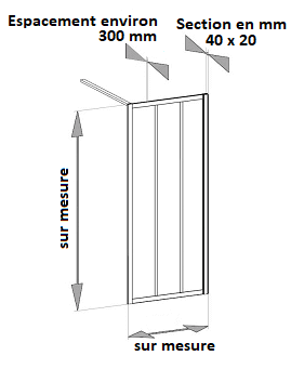paroi de douche tout aluminium type atelier / loft